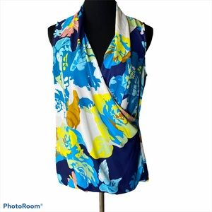CAbi cross front faux wrap floral sleeveless top M